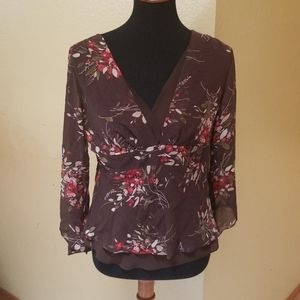 Ann Taylor brown with flowers blouse